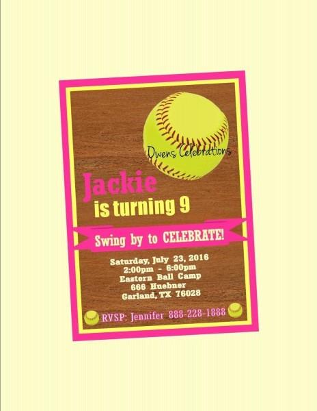 Softball Birthday Party Invitation Softball Invitation And