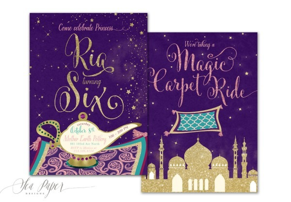 Genie Princess Birthday Invitation Aladdin Birthday