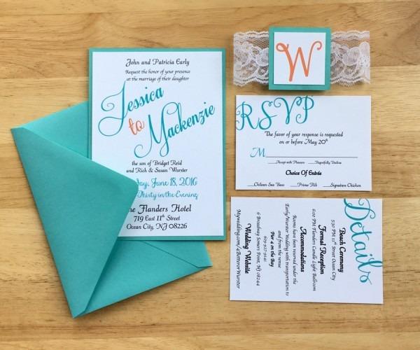 Teal & Coral Wedding Invitations