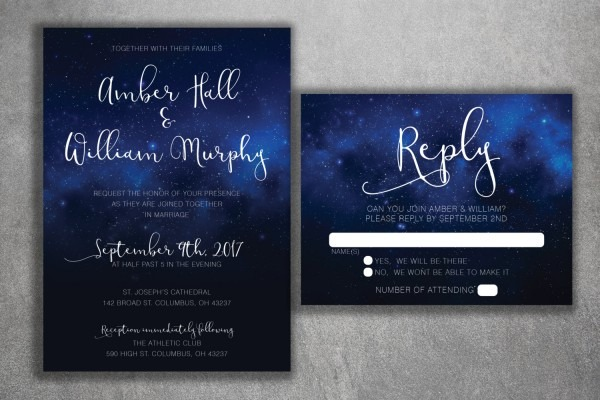 Stars Wedding Invitations Set Printed