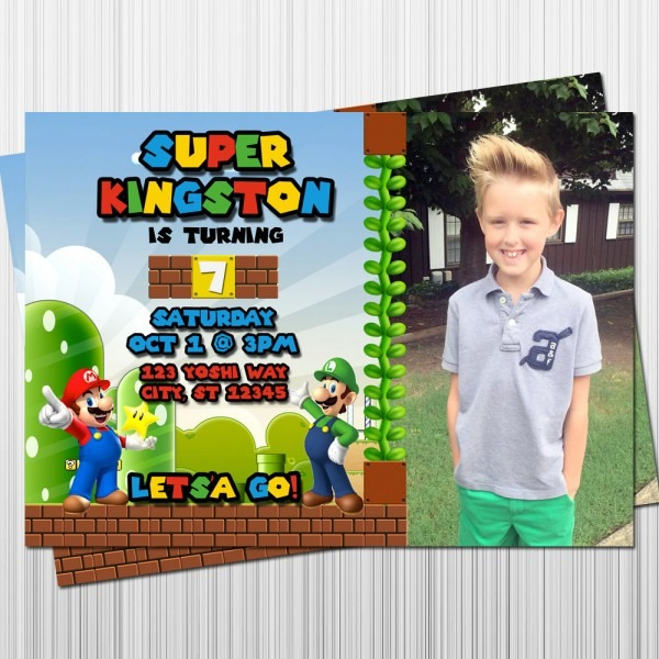 Super Mario Birthday Invitation Mario And Luigi Party