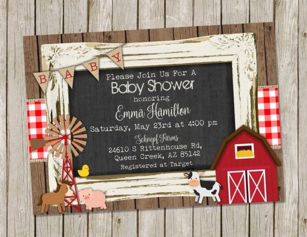 Farm Baby Shower Invitation Country Baby Shower Farm