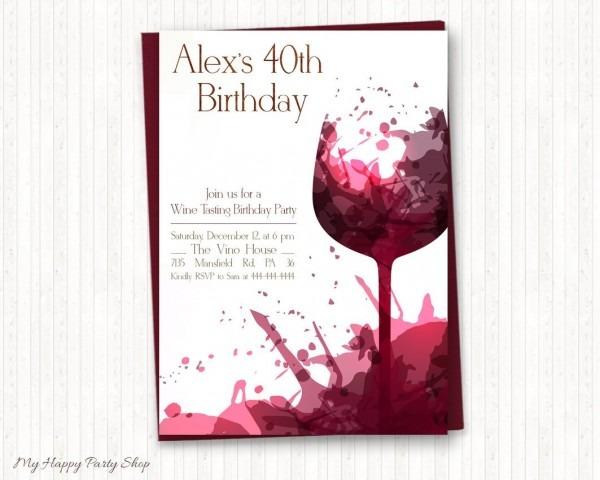 Wine Birthday Invitations Adult Birthday Wine Tasting Adult