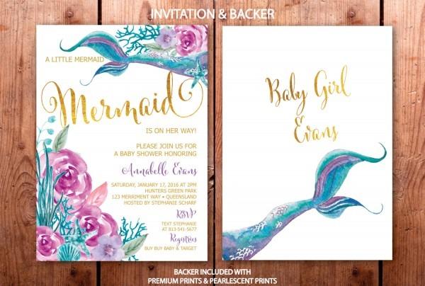 Mermaid Baby Shower Invitation, Purple And Teal Mermaid Baby