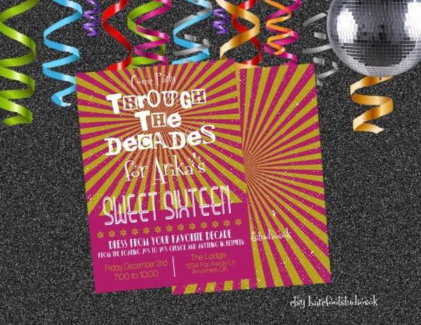 Sweet 16 Through The Decades Invitation 80's Sweet 16