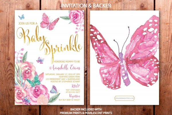 Butterfly Baby Sprinkle Invitation, Butterflies Sprinkle Invite, Baby