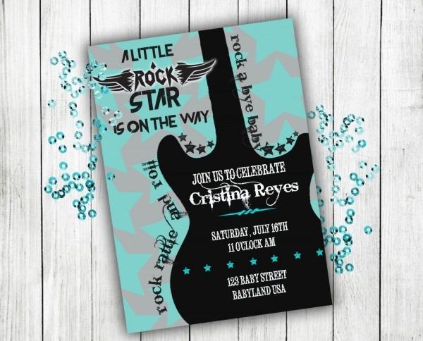 Baby Shower Invitation Rock N Roll Baby Shower Boy Baby