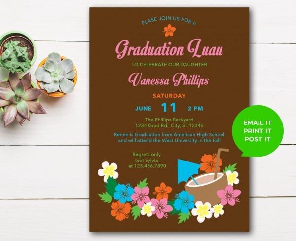 Hawaiian Hibiscus Luau Graduation Invitation Digital