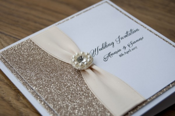 Champagne Glitter With Diamond And Pearls Wedding Invitation