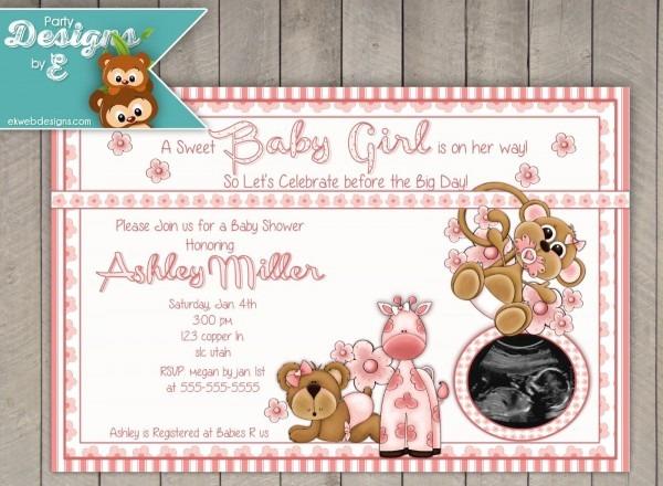 Sweet Baby Girl Baby Shower Invitations Pink Safari Baby