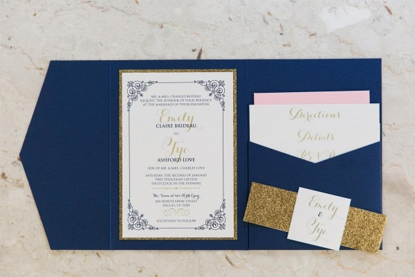 5x7 Navy Blue, Gold Glitter & Blush Pocket Wedding Invitation With