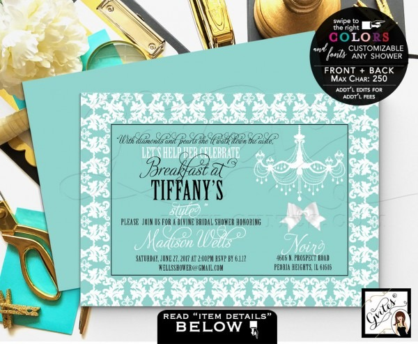 Breakfast Bridal Shower Invitation Printable Invites, Diamonds And