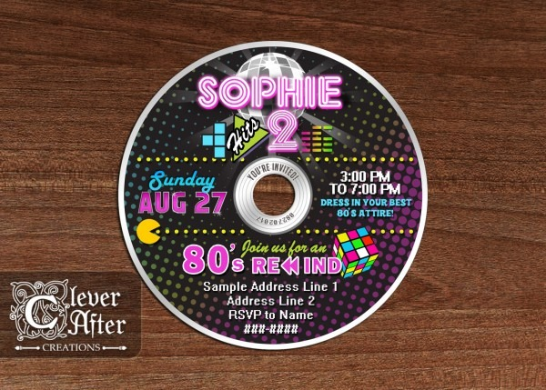 80's Cd Invitation Awesome Eighties Disco Invite Colorful