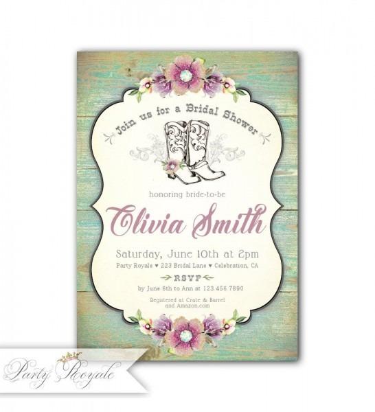Cowgirl Bridal Shower Invitations Western Theme Bridal Shower