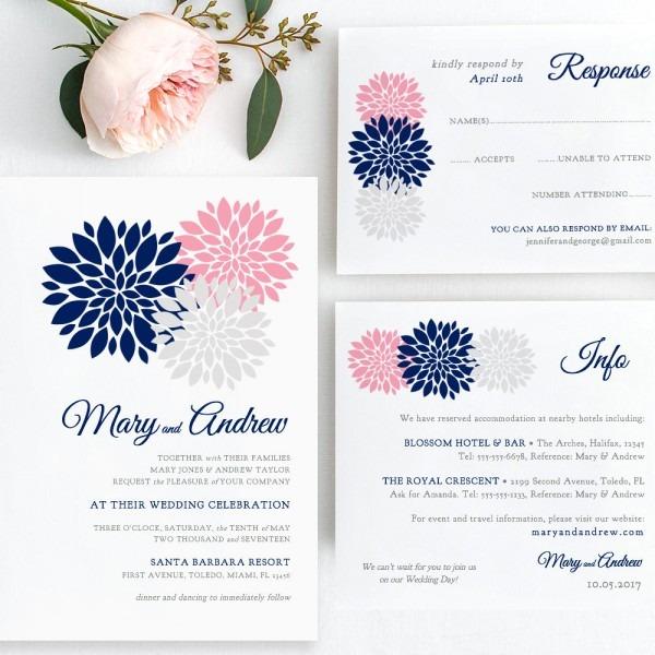 Navy Blue, Pink, Blush, Silver Wedding Invitation Template