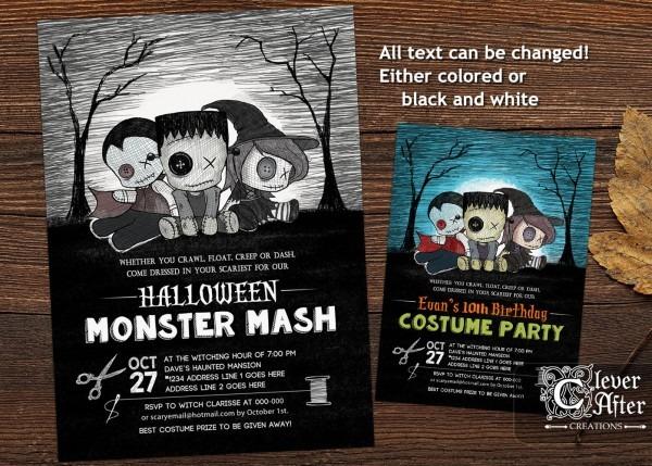 Halloween Costume Party Invitation Monster Mash Invite
