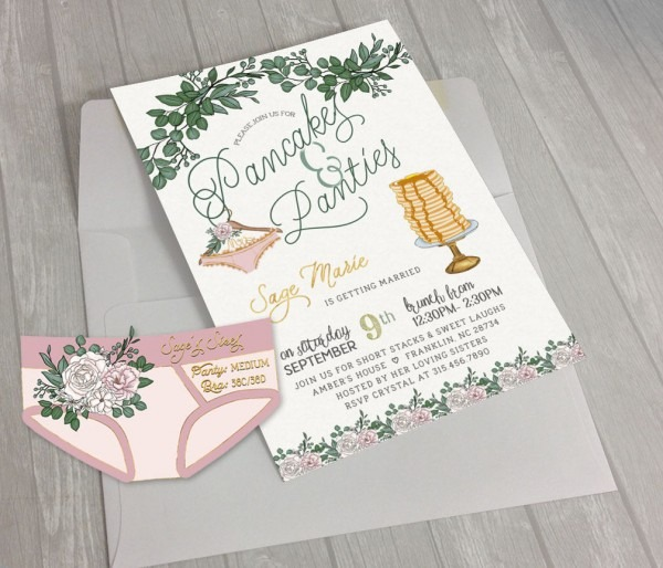 Pancakes And Panties Greenery Lingerie Shower Invite With