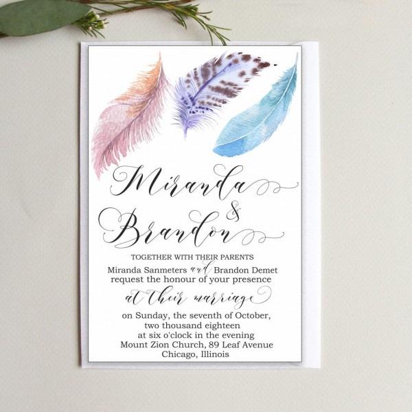 Digital Wedding Invitations Template Feathers Wedding
