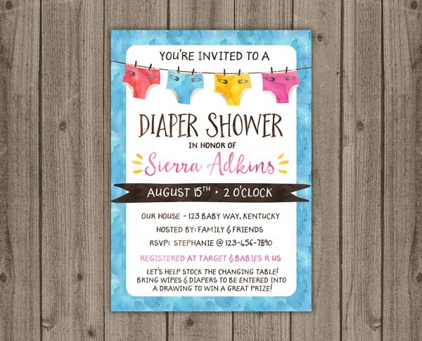 Diaper Shower Invitation Gender Neutral Diapers Baby Shower