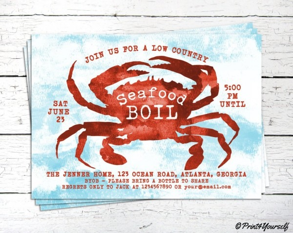 Seafood Boil Invite    Personalized Printable Seafood Boil