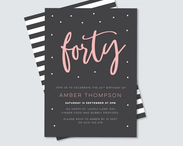40th Birthday Invitation For You To Print Yourself! Black And White