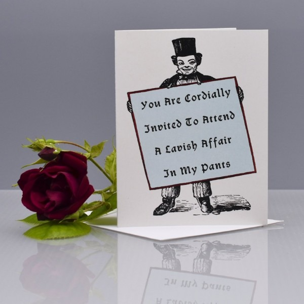A Party In My Pants Cordial Invitation Funny Love Card