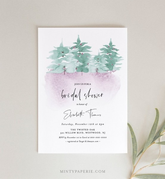 Winter Bridal Shower Invitation, Printable Wonderland Wedding