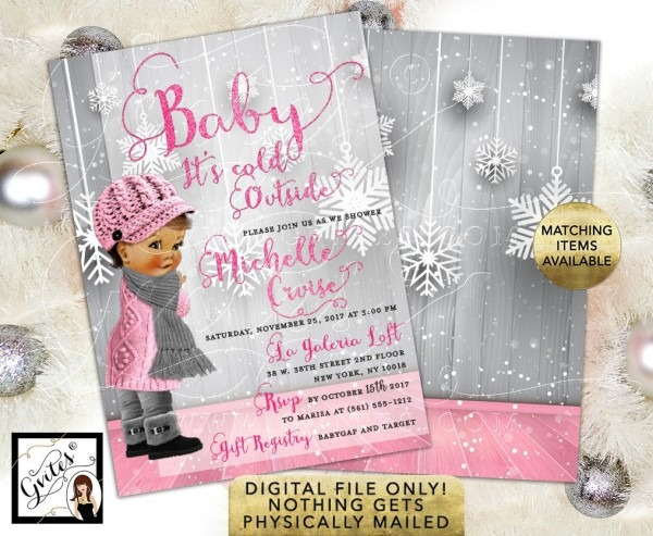 Baby It's Cold Outside, Baby Shower Invitation, Pink Silver Winter