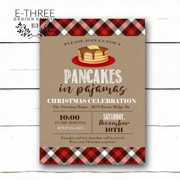 Pancakes In Pajamas Christmas Party Invitation Plaid Holiday