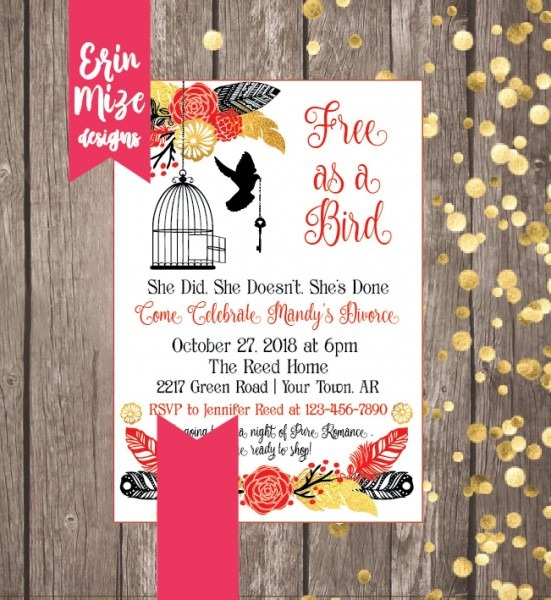 Free As A Bird Divorce Party Invitation Divorce Party Invite