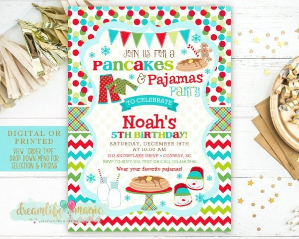 Pancakes And Pajamas Christmas Party Invitation Holiday