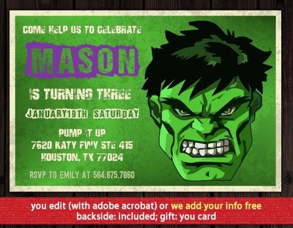 Hulk Invitation   Free Thank You Card Hulk Birthday