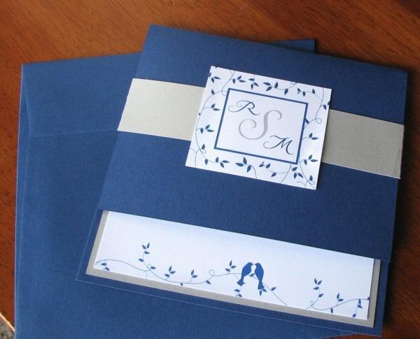 Love Birds Wedding Invitation Blue And Silver Invitation
