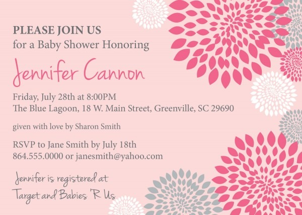 Baby Shower Invitations, Girl, White, Hot And Pale Pink And Grey