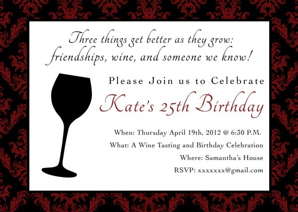 Wine Theme For Birthday Party Invitations