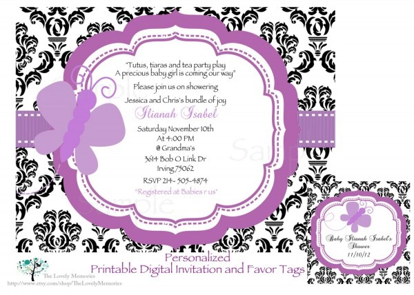Damask Purple Butterfly Baby Shower Printable Invitation & Tag