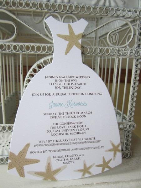 Beach Theme Star Fish Bridal Shower Invitation Custom Dress