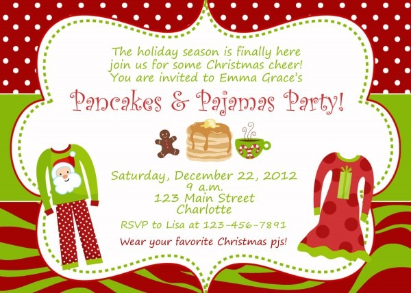 Pancakes And Pajamas Christmas Party Invitation Slumber