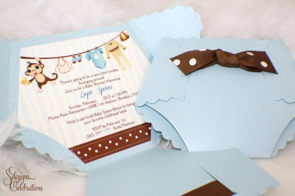 Diaper Baby Shower Invitation Monkey Baby Shower Invitation