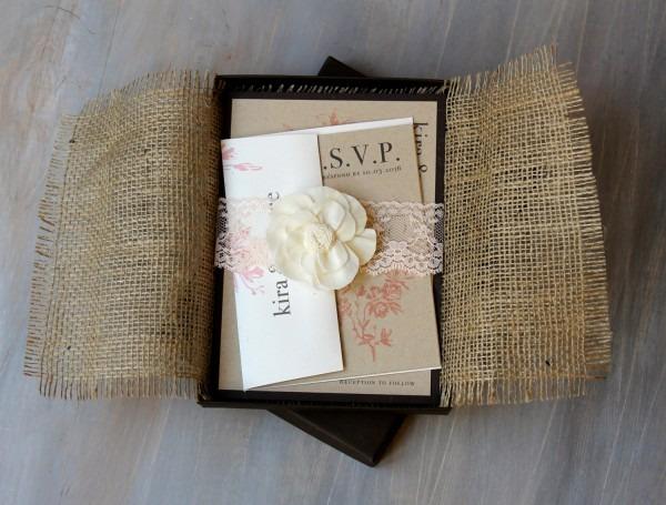 Burlap Wedding Invitations Burlap And Lace Wedding