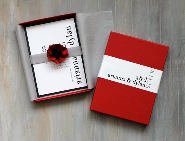 Modern Luxury Box Wedding Invitations Red Wedding Elegant Box
