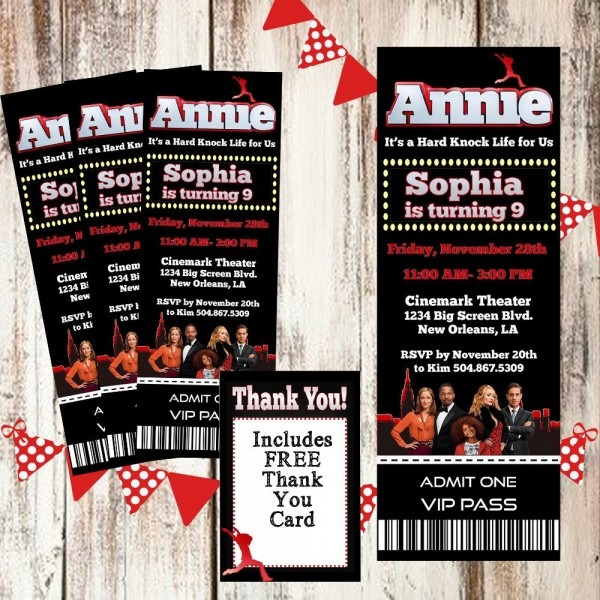 Annie Movie Pass Birthday Party Ticket  Invitation