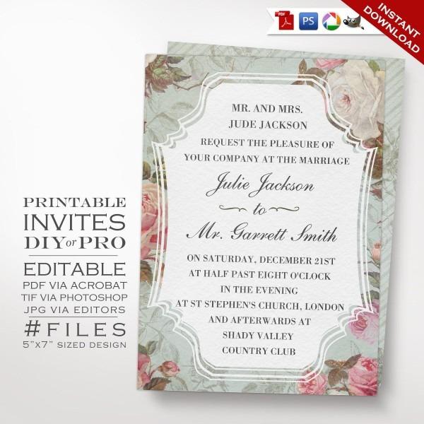 Printable Diy French Country Vintage Rose Wedding Invitation