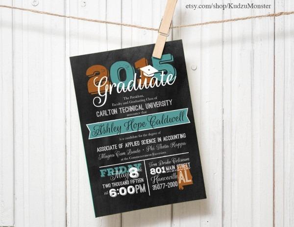 Graduation Invitation Custom Announcement Chalkboard Texture
