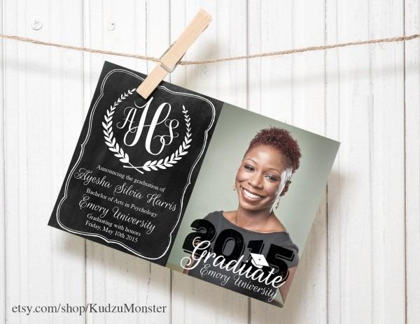 Graduation Invitation Custom Photo Announcement Chalkboard