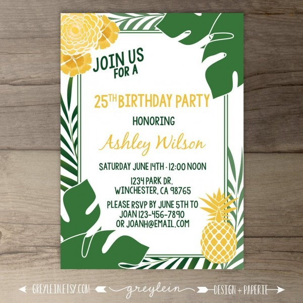 Tropical Pineapple Party Invitations Havana Nights Cuban