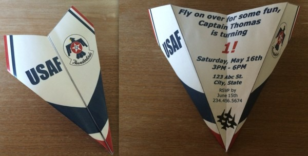 Us Air Force Thunderbirds Inspired Paper Airplane Invitation