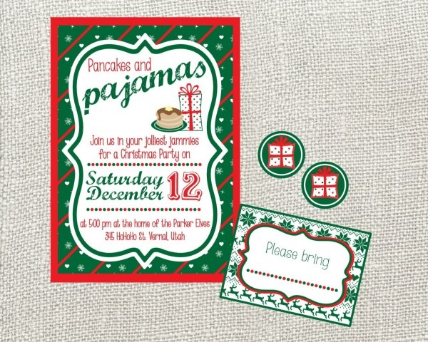 Pancakes And Pajamas Christmas Party Invitation  Custom
