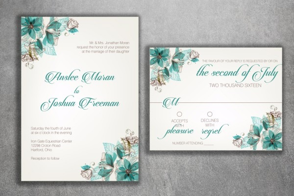 Vintage Floral Wedding Invitations Set Printed