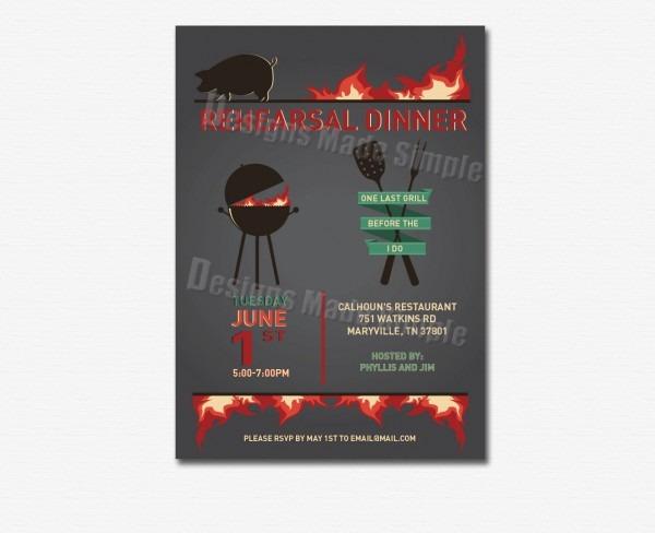 Bbq Theme Rehearsal Dinner Invitation Custom Printable